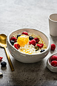 Cottage Cheese with Honeycomb and Fresh Berries