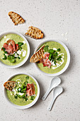 Spring watercress soup with ham and toasted ciabatta bread
