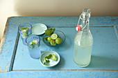 Mojito in zwei Gläsern, Schälchen mit Limetten, Minze und Zucker