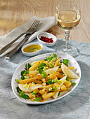 Lukewarm salsify salad with orange, pear and purslane
