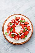 White chocolate tart with strawberries