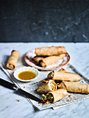 Crispy Spring Rolls with Sweet and Hot Mustard Sauce