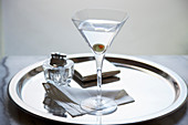 Olive Martini On Silver Platter With Glass Lighter, Cigarette Case And Cocktail Napkin