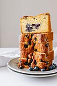 Slices of blueberry tea cake