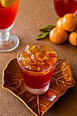 Mandarin juice jelly dessert in glass