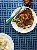 Roasted pork steak and chutney