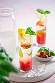 Strawberry lemonade with basil