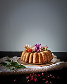Spring bundt cake with eatable flowers