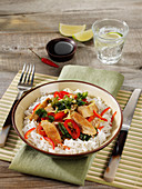 Thai basil chicken with peppers