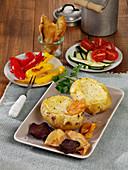 Roast potatoes with cheese fondue