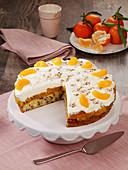 Tangerine cream cake with chocolate shavings and sour cream