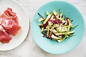 Parma ham and radicchio puntarella salad