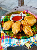 Dish of Fried Chicken Pieces