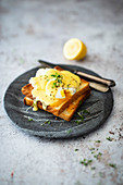 Egg Benedict (poached eggs with hollandaise) on toast