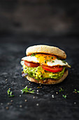 Toasties with avocado, tomato and fried egg