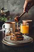 Pancake stack with honey drizzle
