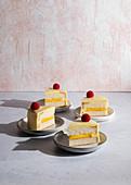 Citrus cake slices with raspberries