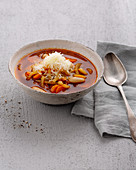 Minestrone with white beans and Parmesan cheese