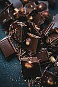 Chunks of milk chocolate with hazelnuts