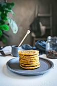 Stacked pumpkin pancakes