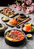Sushi set and Sashimi Rice bowl with Tuna and Salmon