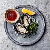 Frische Austern 'Fin de Claire' auf Eis mit Sauce Mignonette