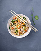 Oriental glass noodle salad with chicken and prawns