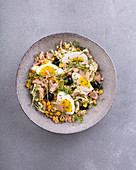 Tuna salad with Chinese cabbage, sweetcorn, egg and olives
