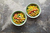 Quick spiced rice with peas and turmeric