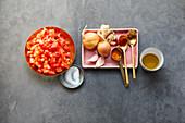 Ingredients for Indian masala paste
