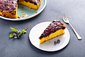 Blueberry and turmeric upside down cake
