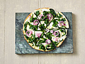 Spinach pizza with a cauliflower base