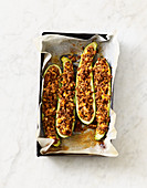 Stuffed courgette with lentils and feta cheese