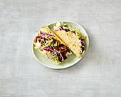 Celeriac and cheese taco with jackfruit