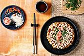 Japanese okonomiyaki cabbage pancake with chive, pickled ginger and mayo sauce
