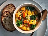 Vegetarian turnip stew with kale