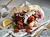 Vegan doner kebab with seitan