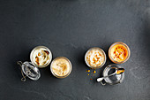 Mayonnaise variations: truffle, kimchi, fried onions and 'dirty'