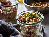 Millet salad with pomegranate and feta