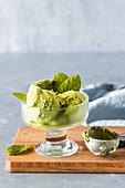 Matcha tea and mint ice cream