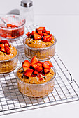 Peanut butter strawberry mini cakes