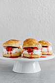 Strawberry shortcakes with whipped cream