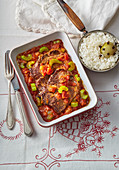 Roast beef stew with rice