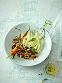 Fennel and carrot salad with almond granola