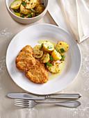 Schnitzel from tenderloin with potato salad