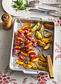 Shashlik from chicken hearts with pepper and potatoes