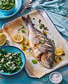 Oven roasted sea bream with spinach