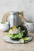 Black cod burger with lime mayonnaise and samphire