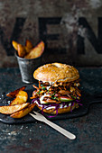 Pulled duck burger with orange mayo, red cabbage, fig and nuts