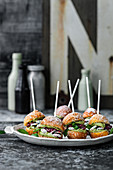Quark bun burger with pistachio cream and cherry jam